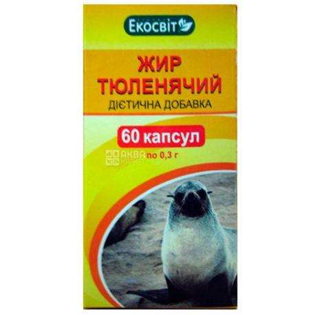 Экосвит Ойл Жир тюленя, 60 кап. по 0,3 г, Для улучшения жирового обмена