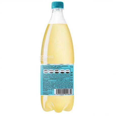 Schweppes, Bitter Lemon, 1 л, Швепс, Оріджінал Біттер Лимон, Вода солодка, з натуральним соком, ПЕТ