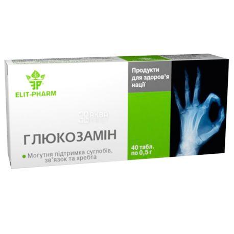 ELIT-PHARM Глюкозамін, 40 піг.  по 0,5 г, Для суглобів