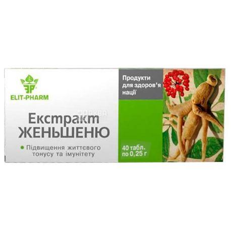 ELIT-PHARM Ginseng Extract, 40 tab., Makes you vigorous and strong.
