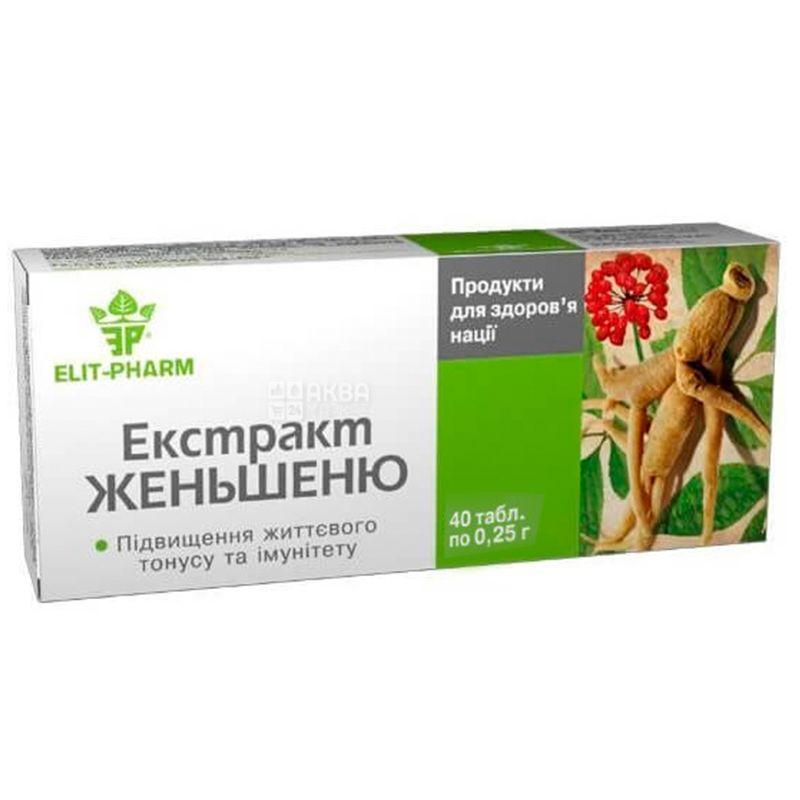 ELIT-PHARM Экстракт женьшеня, 40 таб., Делает Вас бодрым и сильным