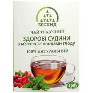 Beskid, 100 g, Herbal tea, Healthy vessels, With mint and hawthorn