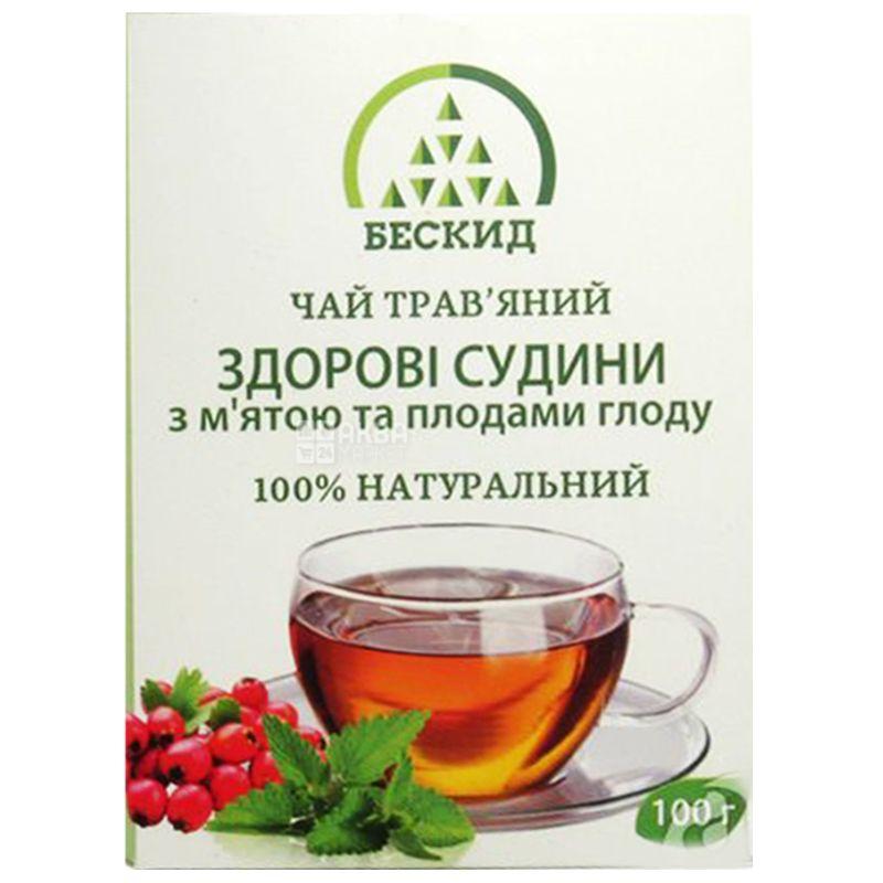Бескид, Здорові судини, 100 г, Чай трав'яний, з м'ятою і глодом
