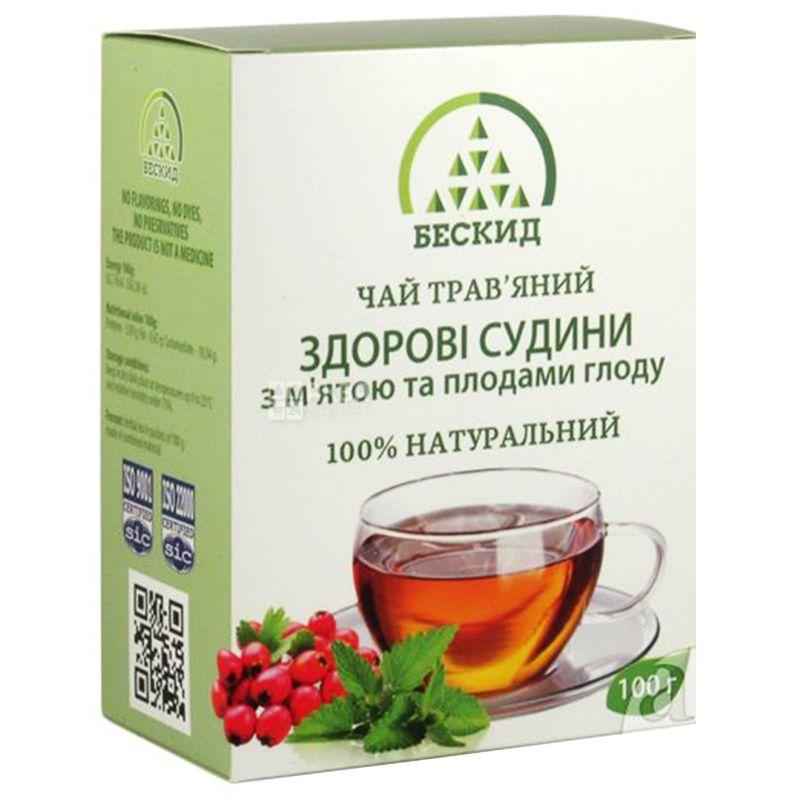 Бескид, Здоровые сосуды,100 г, Чай травяной, с мятой и боярышником
