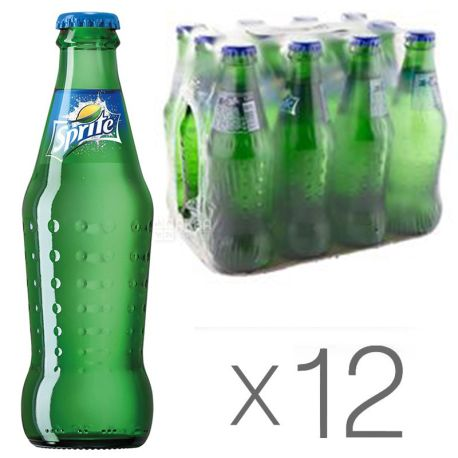Sprite, Упаковка 12 шт. по 0,25 л, Спрайт, Вода солодка, зі смаком лайма і лимона, скло