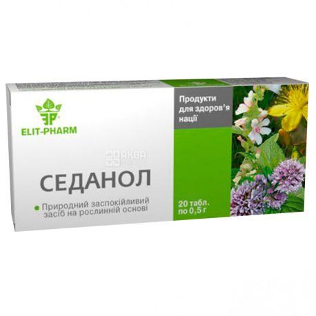 ELIT-PHARM Седанол, 20 таб. по 0,5 г, Успокоительное средство