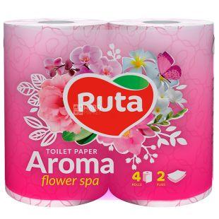 Ruta, 4 рулона, Туалетний папір ароматизований, Aroma Flower spa, Двошаровий