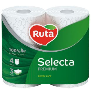 Ruta Selecta, 4 рул., Туалетний папір Рута Селекта, 3-х шаровий