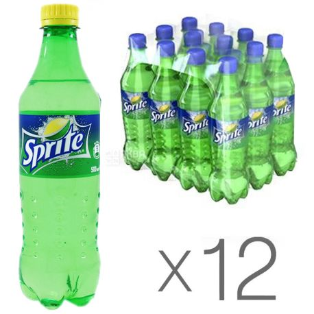 Sprite, Упаковка 12 шт. по 0,5 л, Спрайт, Вода сладкая, со вкусом лайма и лимона, ПЭТ