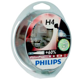 Philips, 2шт, Галогенная лампа, VisionPlus H4, Блистер