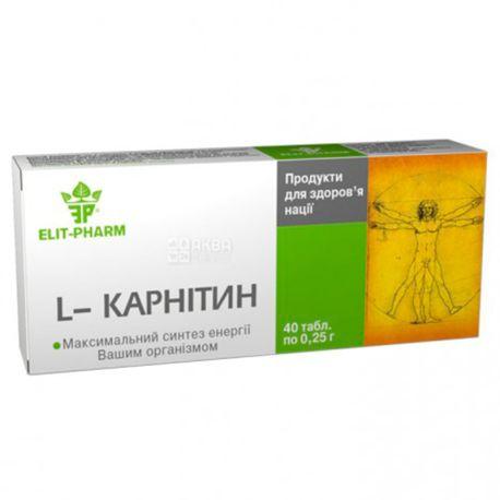 ELIT-PHARM L-карнітін, 40 піг. по 0,25 г, Для перетворення жиру в енергію