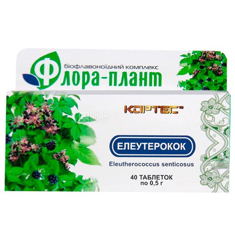 Флора-плант Элеутерококк, 40 таб. по 0,5 г, Для снятия стресса
