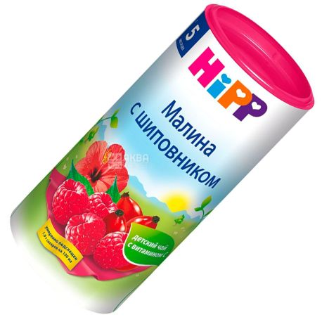HiPP, Малина з шипшиною, 200 г, Чай Хіпп, дитячий, фруктовий, тубус
