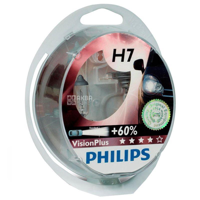 Philips, 2 шт., Галогенні лампи, VisionPlus H7, Блістер