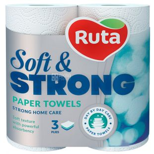 Ruta, 2 рулона, Полотенца бумажные белые, Soft & Strong, Трехслойные
