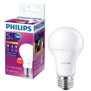 Philips, 5 Вт, Е27, Лампочка Светодиодная, LEDBulb, 3000K (холодный свет), A60, Матовая