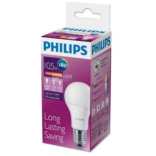 Philips, 10,5 Вт, E27, Лампочка Светодиодная, LEDBulb, 3000K (холодный свет), A60, Матовая