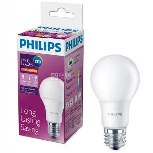 Philips, 10,5 Вт, Е27, Лампочка Світлодіодна, LEDBulb, 3000K (холодне світло), A60, Матова