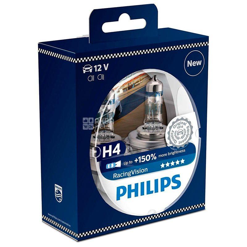 Philips, 2 шт., Галогенная лампа, Racing Vision H4 + 150%, Блистер