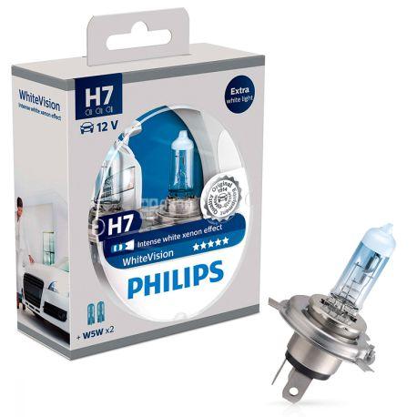 Philips, 2 шт., Галогенні лампи, WhiteVision H7,3700К, Блистер
