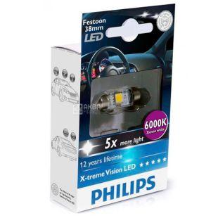 Philips, 1 шт, Лампа світлодіодна, Festoon Blue Vision, T10.5x38, 6000K