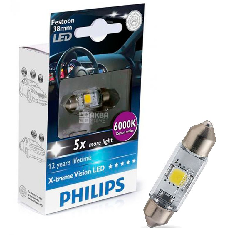 Philips, 1 pc, LED lamp, Festoon Blue Vision, T10.5x38, 6000K