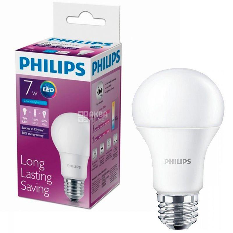 Philips, 1 шт., 7-60 Вт, E27, Лампочка Світлодіодна, LEDBulb, 6500К (холодне біле світло), A60/PF
