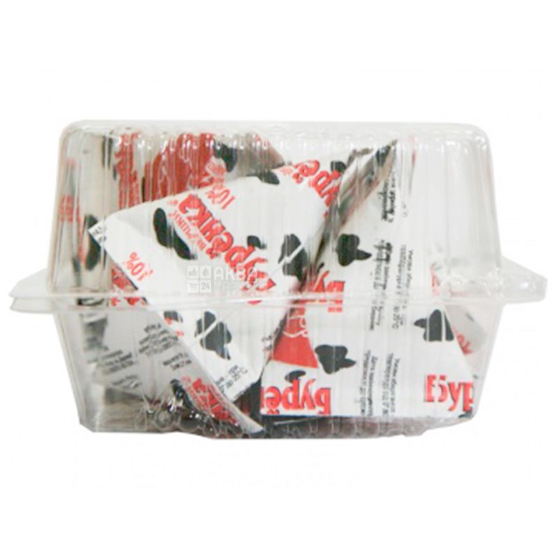 Бурёнка, упаковка 10 шт. по 20 мл, Сливки жидкие ультрапастеризованные, 10%