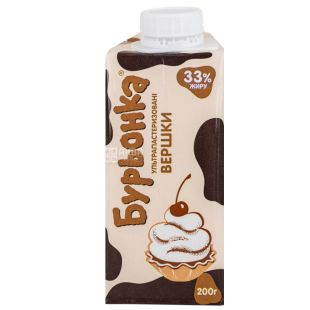 Burenka, 200 g, 33%, Cream, Ultra Pasteurized