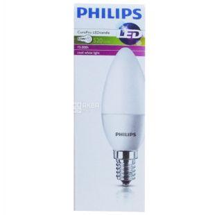 Philips, 5,5 Вт, E14, Лампочка Светодиодная, CorePro candle, 4000K (нейтрально-холодный свет), B39, Матова