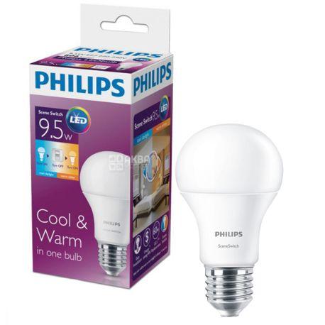 Philips, 9,5 Вт, E27, Лампа Светодиодная, Scene Switch, 3000K и 6500K (холодный и теплый свет), A60, Матовая