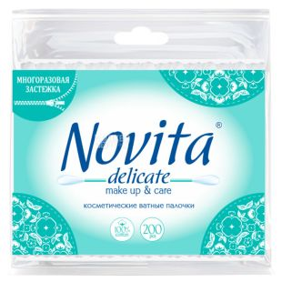 Novita Delicate, 200 шт., Ватяні палички гігієнічні, п/э пакет