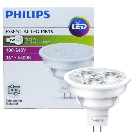 Philips, 1 шт., 3-35 Вт, Лампочка Светодиодная, 6500К (холодный белый свет), MR16, 36D, 830