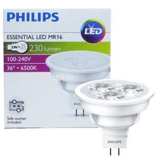 Philips, 1 шт., 3-35 Вт, Лампочка Світлодіодна, 6500К (холодне біле світло), MR16, 36D, 830
