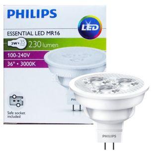Philips, 1 шт., 3-35 Вт, Лампочка Світлодіодна, 6500К (тепле біле світло), MR16, 36D, 830