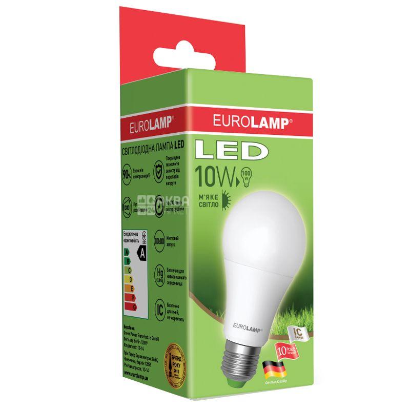 EUROLAMP, 10 Вт, E27, Лампочка Светодиодная, ЭКО, 6500К (нейтральный свет), A60, Матовая