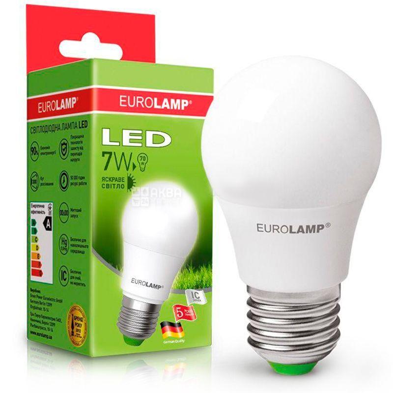 EUROLAMP, 7 Вт, E27, Лампочка Светодиодная, ЭКО, 4000К (нейтральный свет), A50, Матовая
