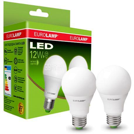 EUROLAMP, лампочки 2 шт., 12 Вт, E27, Лампочка Світлодіодна, ЕКО, 4000К (холодне біле світло), A60
