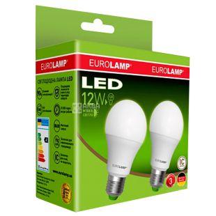 EUROLAMP, 1+1 шт., 12 Вт, E27, Лампочка Світлодіодна, ЕКО, 4000К (холодне біле світло), A60