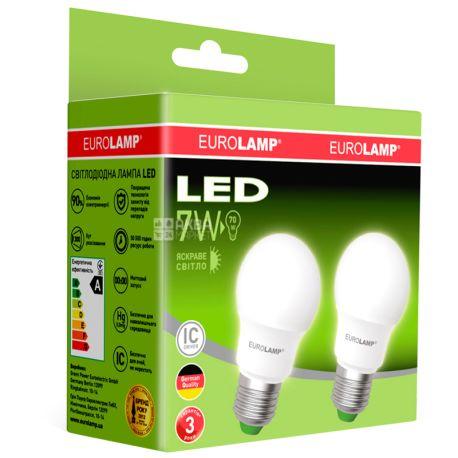 EUROLAMP, лампочки 2 шт., 7 Вт, E27, Лампочка Світлодіодна, ЕКО, 4000К (холодне біле світло), A50