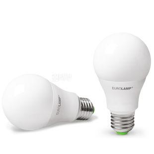 EUROLAMP, 1+1 шт., 10 Вт, E27, Лампочка Светодиодная, ЭКО, 4000К (холодный белый свет), A60
