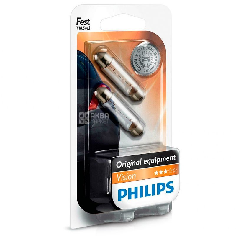 Philips, 1 шт., Лампа світлодіодна, Сигнальна, Festoon Vision, T10.5x43