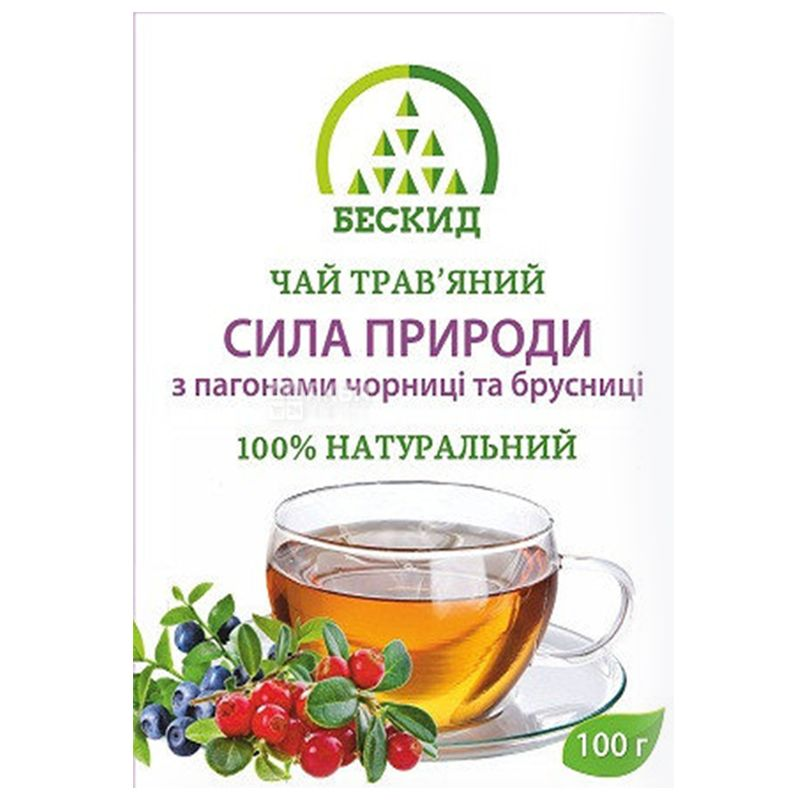 Бескид, Сила природы, 100 г, Чай травяной, с черникой и брусникой