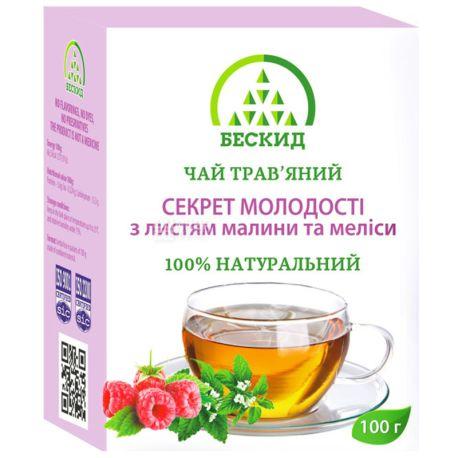 Бескид, Секрет молодості, 100 г, Чай трав'яний, з малиною і мелісою