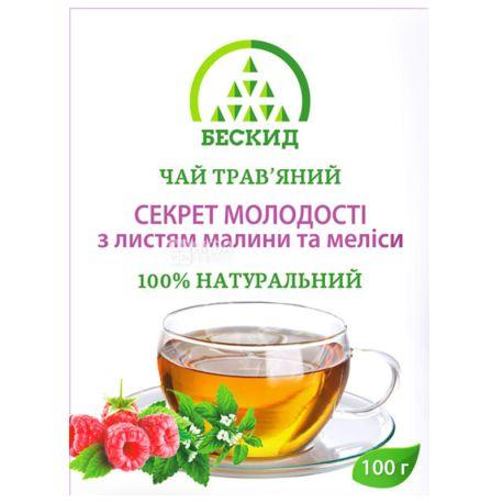 Бескид, Секрет молодости, 100 г, Чай травяной, с малиной и мелиссой