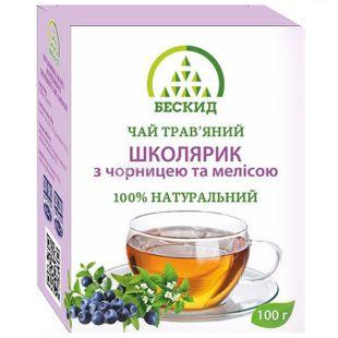 Бескид, Школьник, 100 г, Чай травяной, с черникой и мелиссой