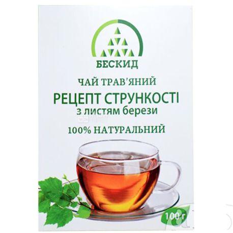 Бескид, Рецепт стрункості, 100 г, Чай трав'яний, з листям берези