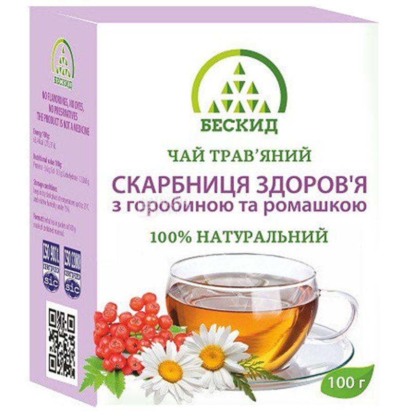 Бескид, Сокровищница здоровья, 100 г, Чай травяной, с рябиной и ромашкой