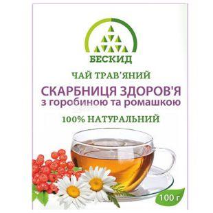 Бескид, Скарбниця здоров'я, 100 г, Чай трав'яний, з горобиною і ромашкою
