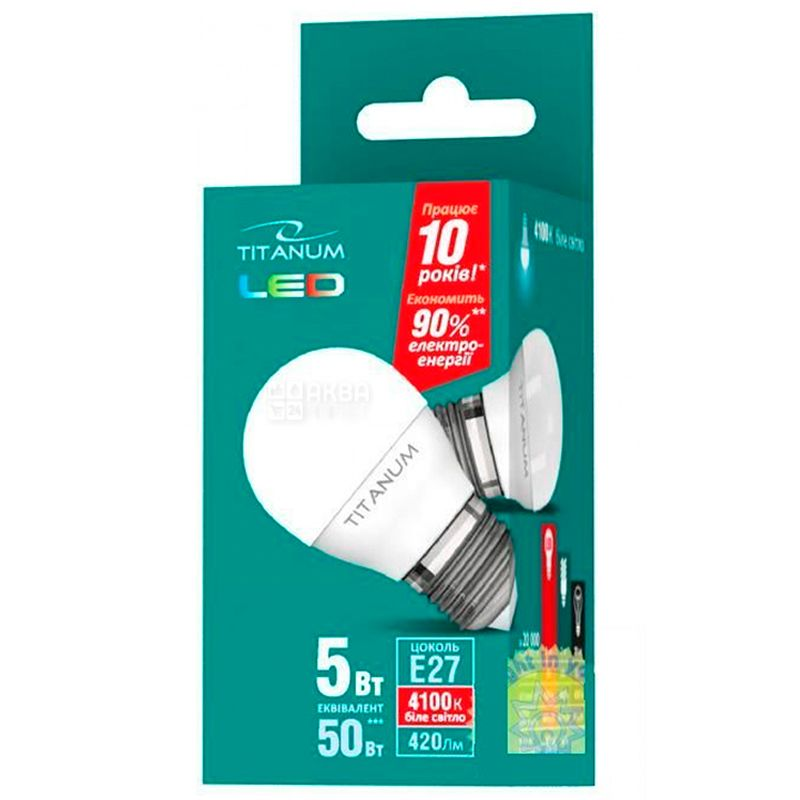 TITANUM, 5 Вт, E27, Лампочка Світлодіодна, 4100К (нейтральне біле світло), G45
